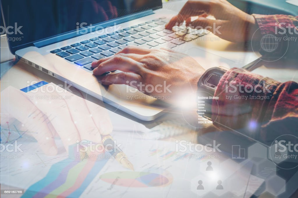 Man Typing  Laptop Hand.Project Manager Researching Process.Business Team Working Startup modern Office.Global Strategy stock photo
