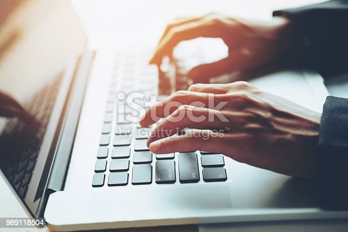 Man Typing Laptop On Social Network technology