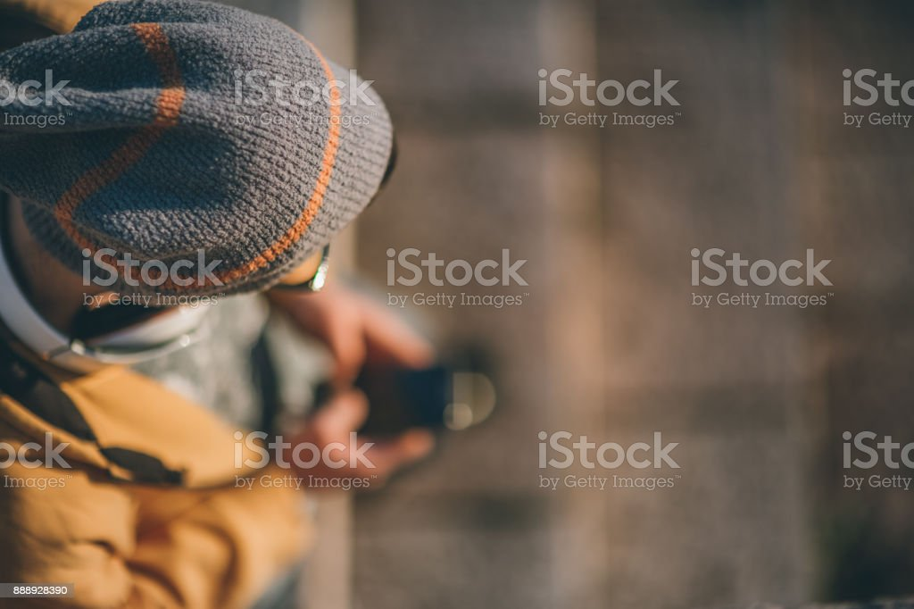 Man typing text message stock photo