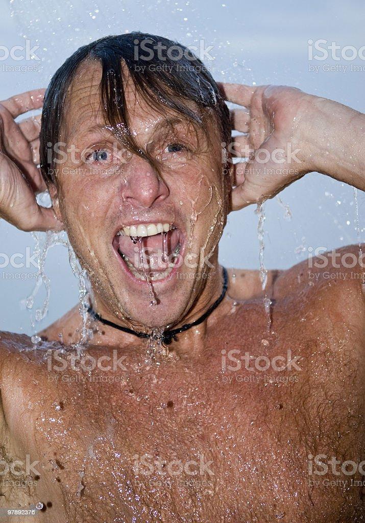 man under shower. royalty-free stock photo