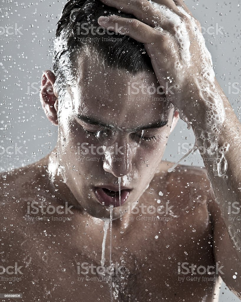 man under the shower royalty-free stock photo