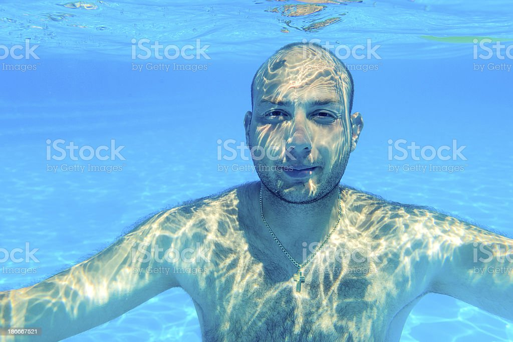 man underwater royalty-free stock photo
