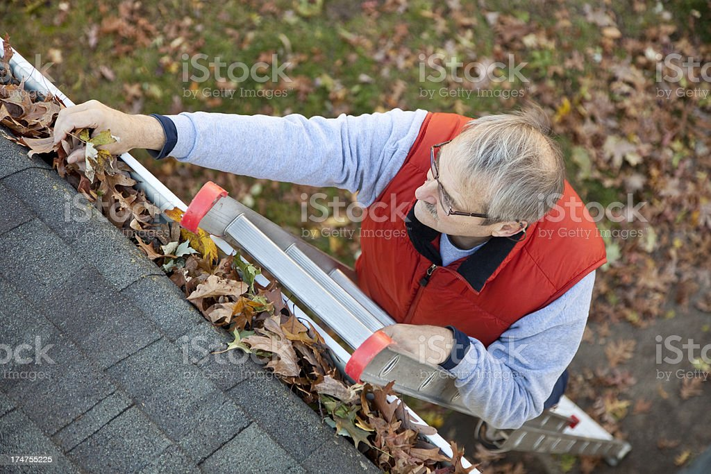 Man up ladder cleaning leafs out of gutter on house stock photo