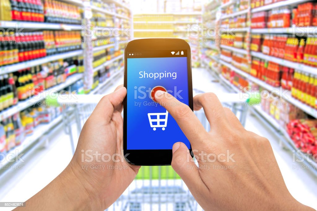 Man use mobile phone with blur store and address bar,Shopping Purchase Order Concept stock photo