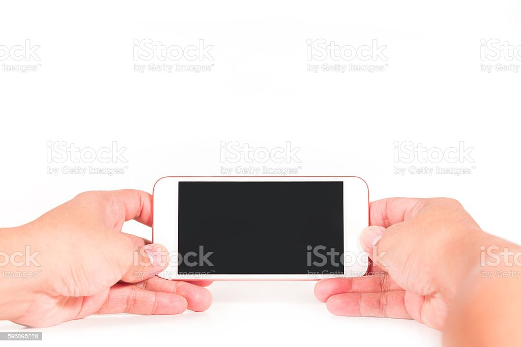 Man use two hand holding smart phone with blank screen Lizenzfreies stock-foto