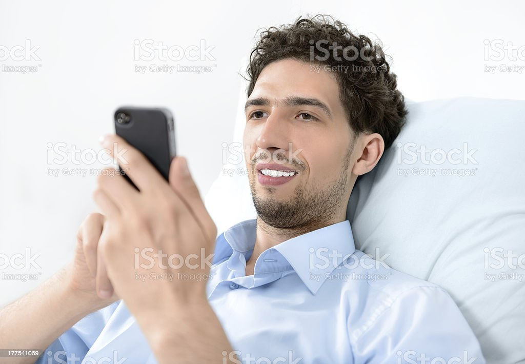 Man using a mobile smart phone royalty-free stock photo