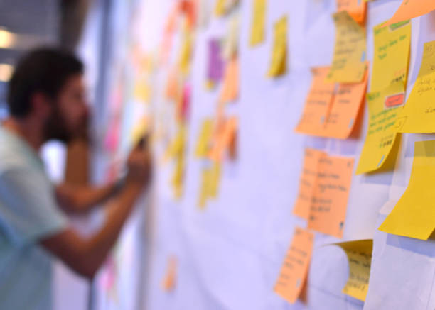 A man using agile methodology on work, using the Kanban board to track his tasks stock photo