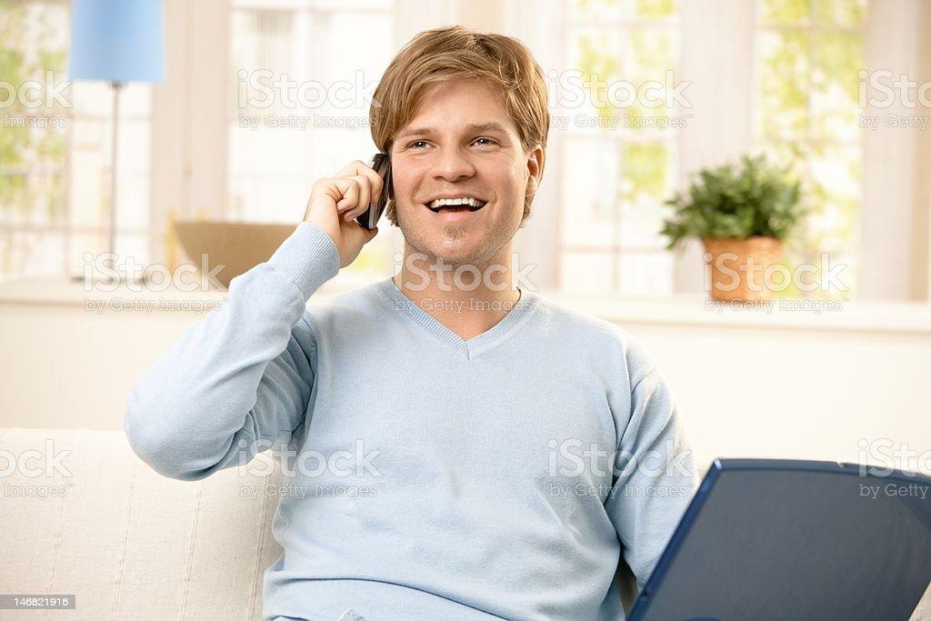 Man using cellphone royalty-free stock photo