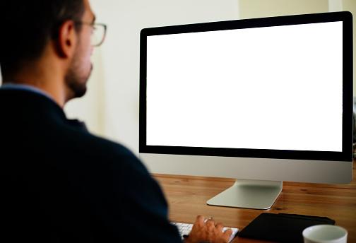 Man using Desktop PC with blank screen