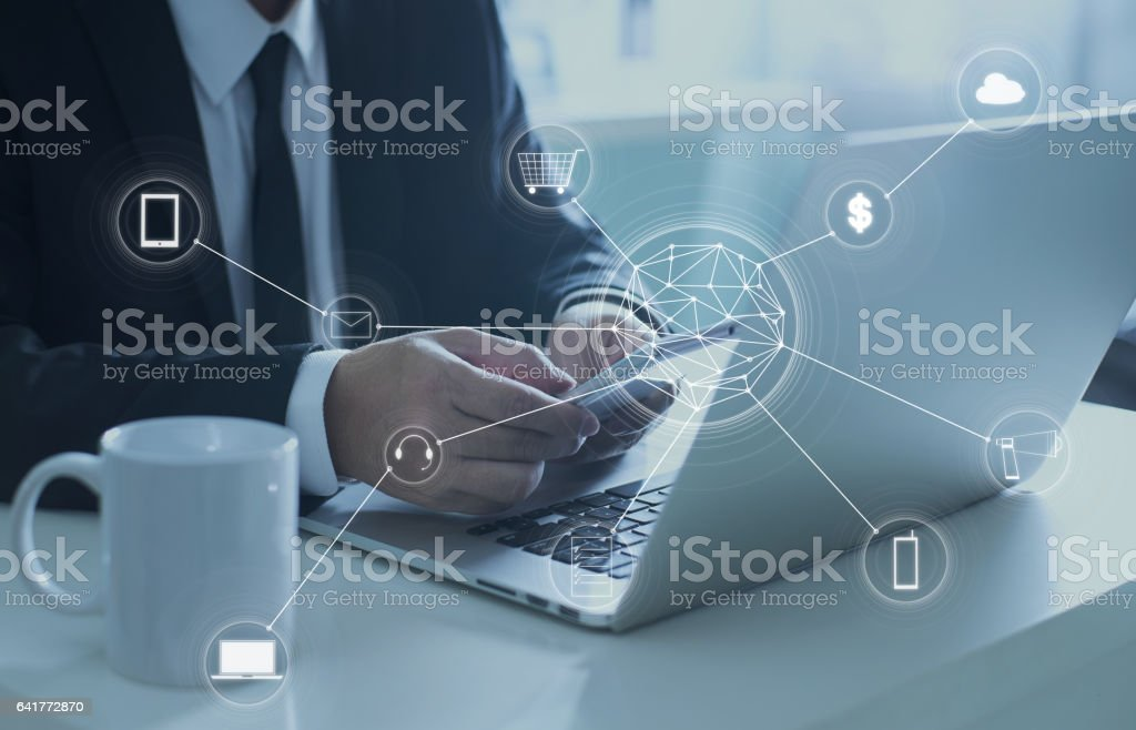 Man using digital device make payments online shopping. stock photo