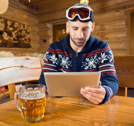 Man Using Digital Tablet Stock Photo - Download Image Now