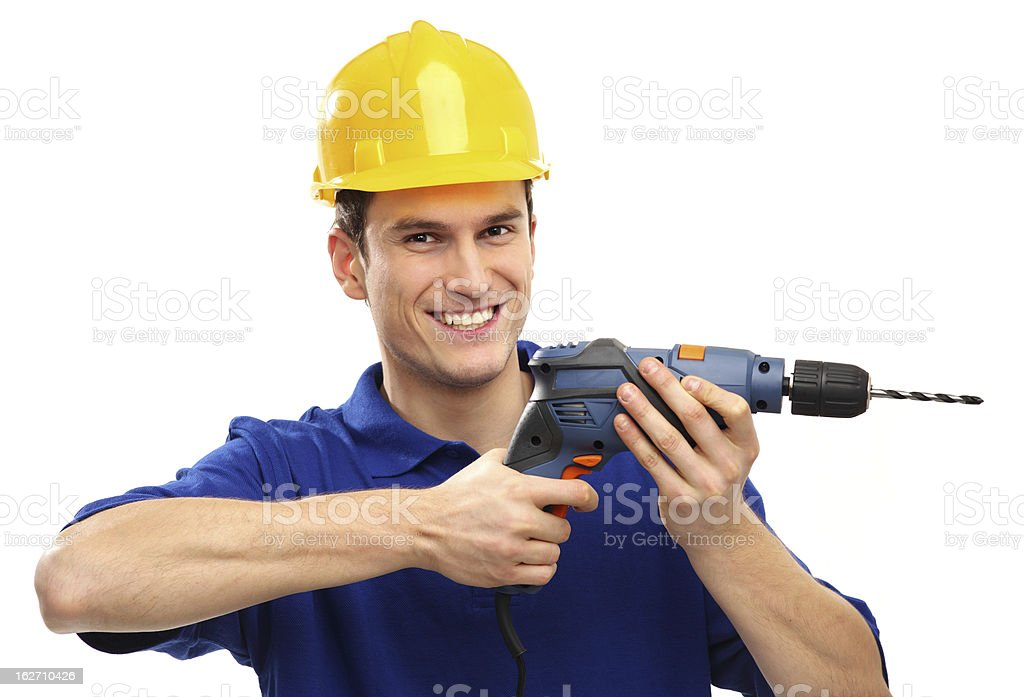 Man using drill royalty-free stock photo