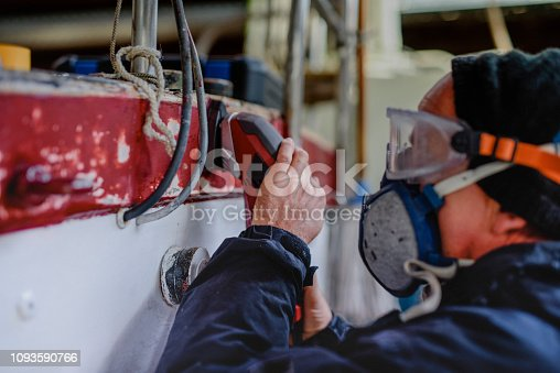 DIY, Maintaining sailing yacht in boathouse, workshop, working, Germany