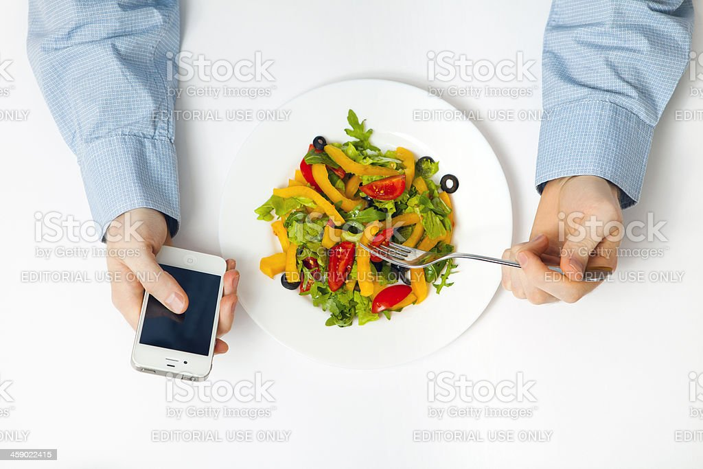 Man using iPhone royalty-free stock photo