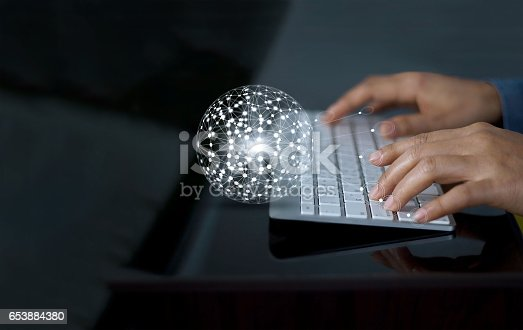 istock Man using keyboard with abstract global network connection customer on screen, m-banking and online shopping  concept 653884380