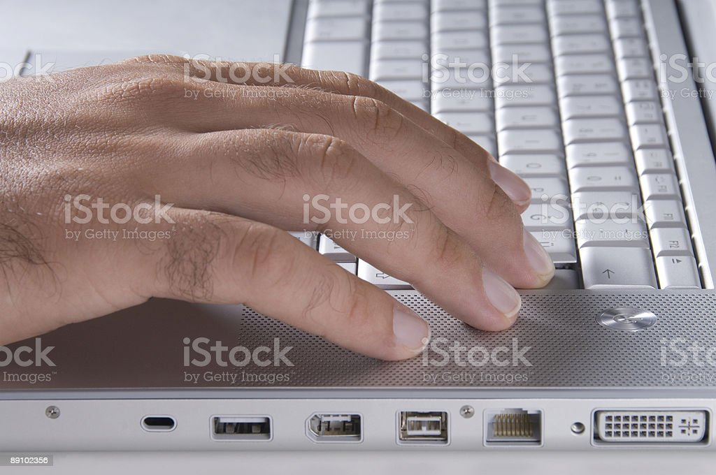 Man using laptop, Close-up royalty-free stock photo