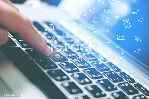831899586istockphoto Man using laptop online  icon social networking connection on screen 926464372