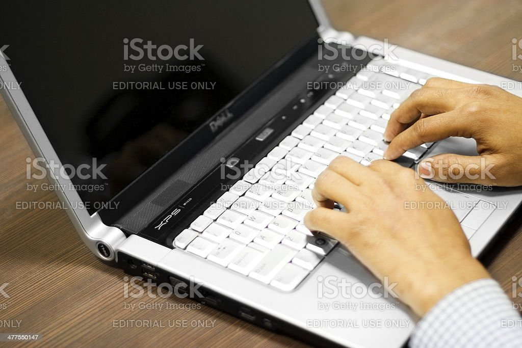 Man Using Laptop royalty-free stock photo