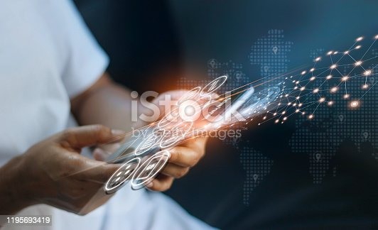 istock Man using mobile online banking and payment, Digital marketing. Finance and banking networking. Online shopping and icon customer network connection, cyber security. Business technology. 1195693419