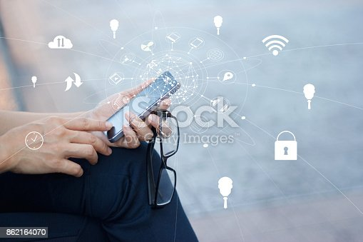 istock Man using mobile payments for online shopping and icon customer network connection on screen, m-banking and omni channel 862164070