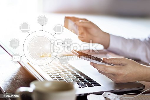629776586 istock photo Man using mobile payments online shopping and icon customer network 623605556