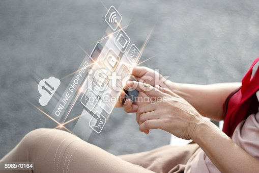 629776586 istock photo Man using mobile payments online shopping and icon customer network connection on virtual screen, m-banking and omni channel 896570164