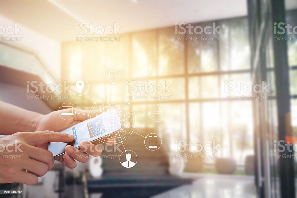 Man using mobile payments online shopping and icon customer stock photo