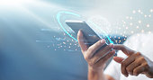 istock Man using mobile smart phone with global network connection, Technology, innovative and communication concept. 1274394138