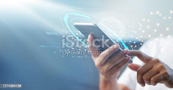 Man using mobile smart phone with global network connection, Technology, innovative and communication concept.