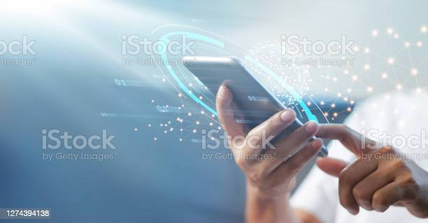 Photo of Man using mobile smart phone with global network connection, Technology, innovative and communication concept.