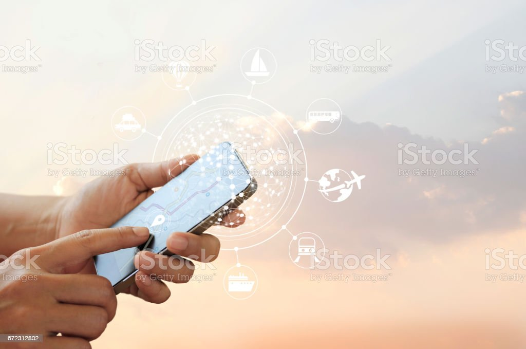Man using mobile travel online and icon network connection on screen, traveler concept, all on mobile screen are designed up stock photo