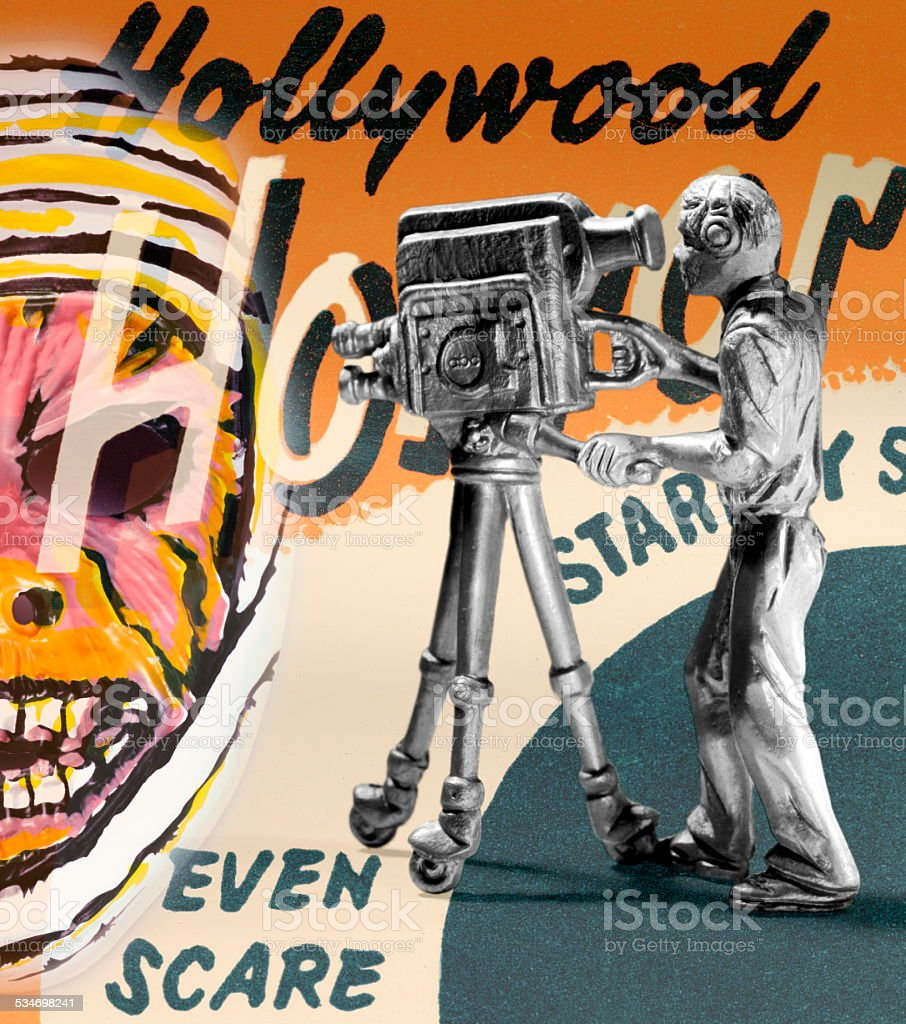 Man Using Movie Camera stock photo