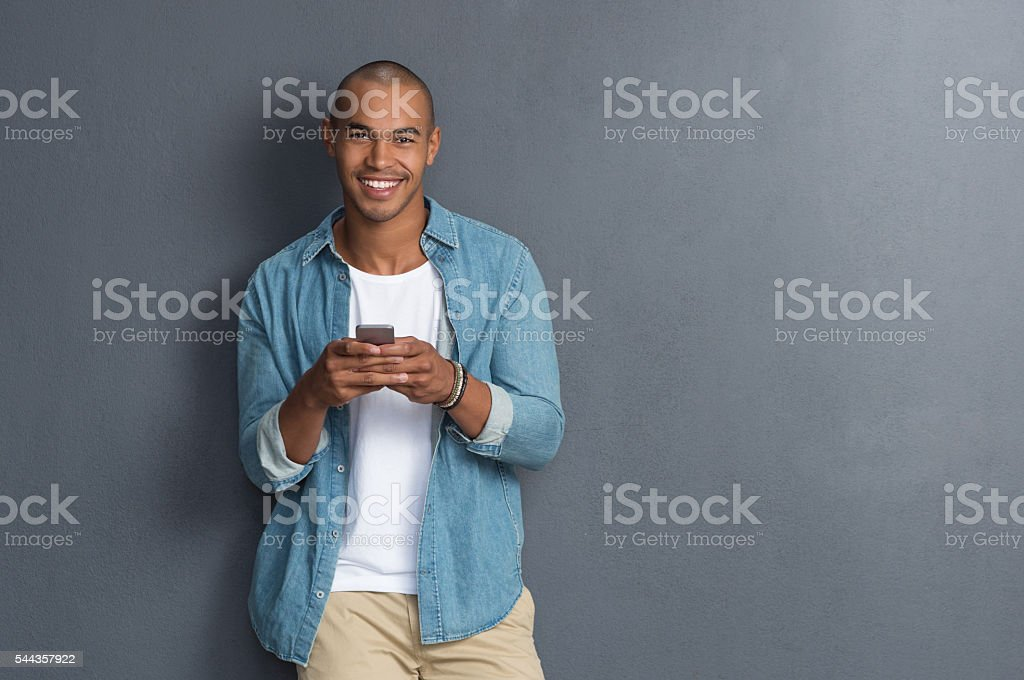 Man using smartphone stock photo