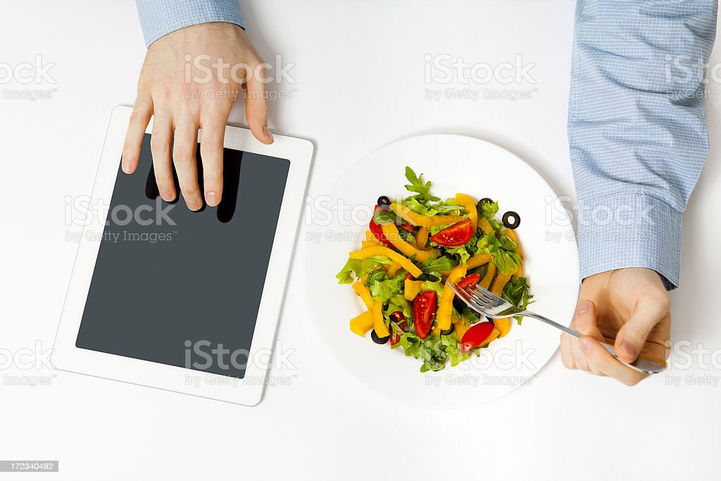 Man Using Tablet PC royalty-free stock photo