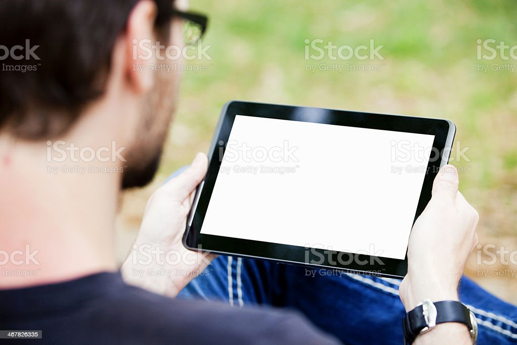 Man Using Tablet royalty-free stock photo