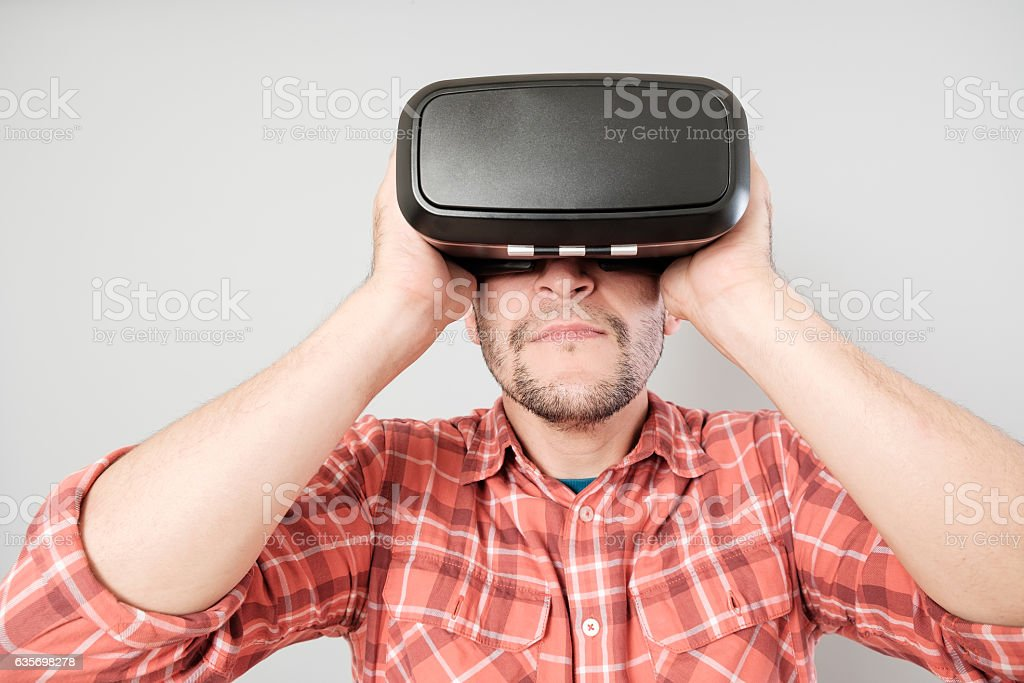 Man using virtual reality headset royalty-free stock photo