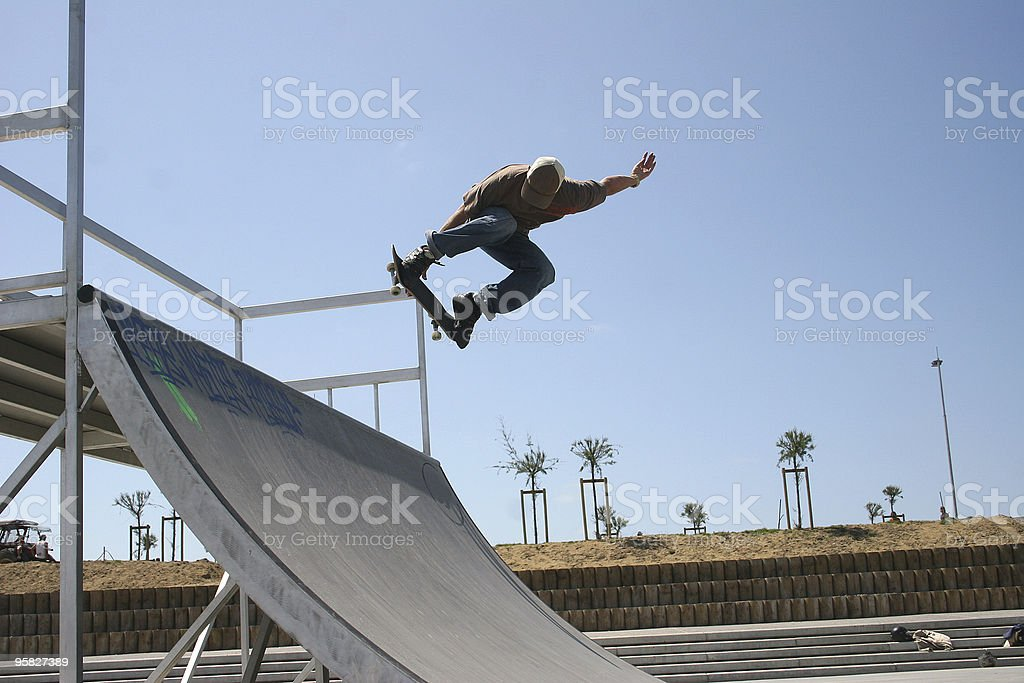 man vho jumps with a skateboard stock photo