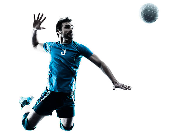 man volleyball  jumping silhouette - volleyball stock photos and pictures