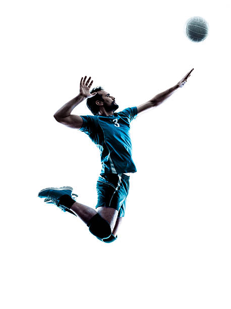 man volleyball  jumping silhouette - volleyball sport stock photos and pictures