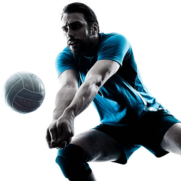 homme silhouette de volley-ball - volley ball photos et images de collection