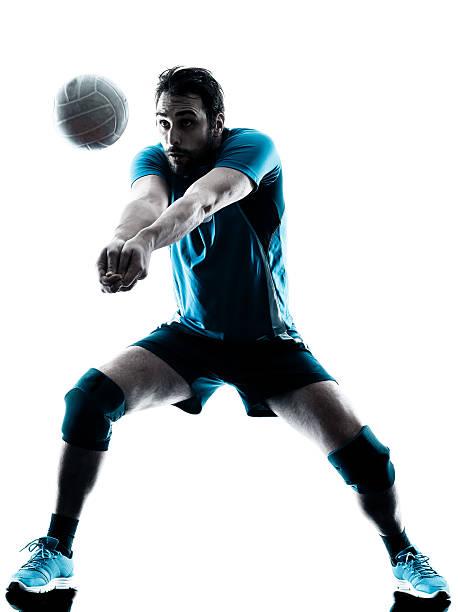 man バレーボールシルエット - バレーボール ストックフォトと画像