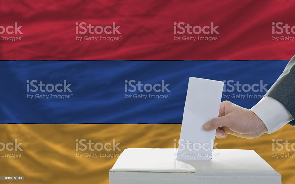 man voting on elections in armenia royalty-free stock photo
