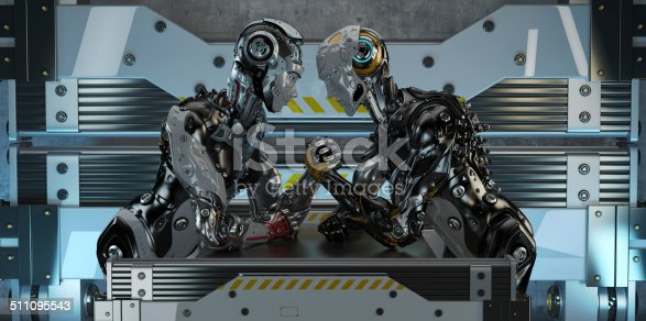 Competition in arm wrestling between two robotic characters
