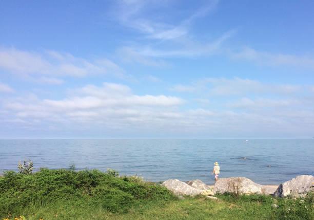Man Wading in Lake Michigan stock photo
