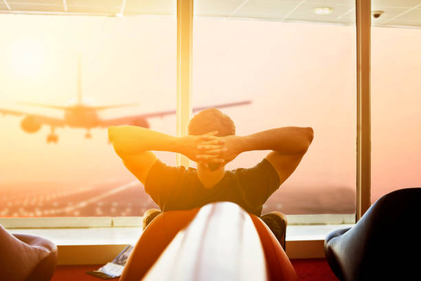 Man Waiting at the Airport stock photo