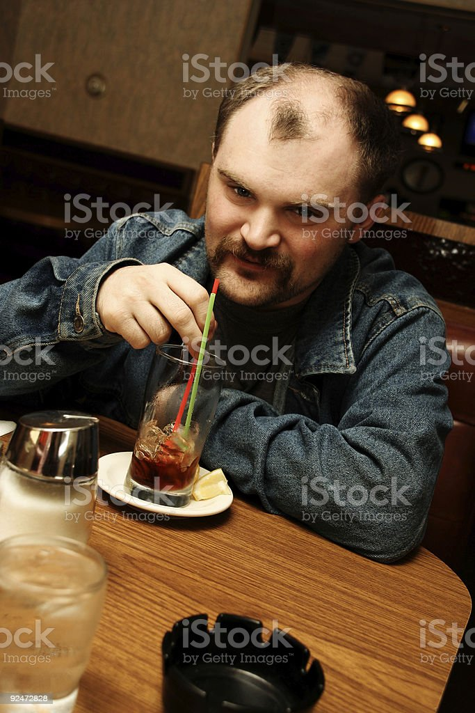 Man Waiting for Breakfast at a Restaurant royalty-free stock photo