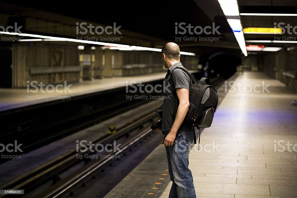 Man waiting for the Metro Subway Train royalty-free stock photo