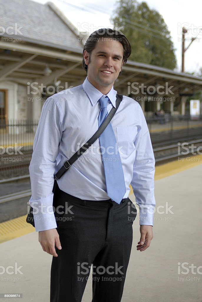 Man waiting for the train royalty-free stock photo