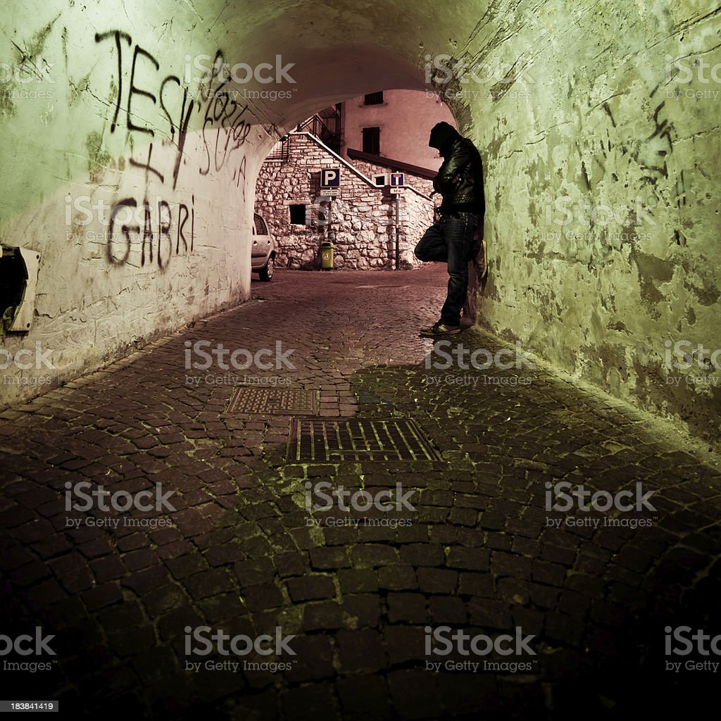 Man Waiting in Backstreet, City Life royalty-free stock photo