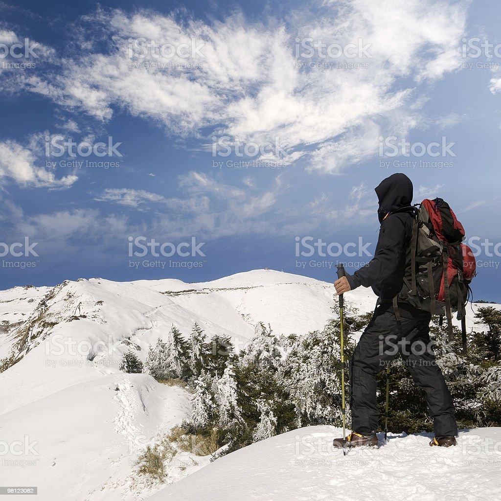 Man walk on snow lane royalty-free stock photo